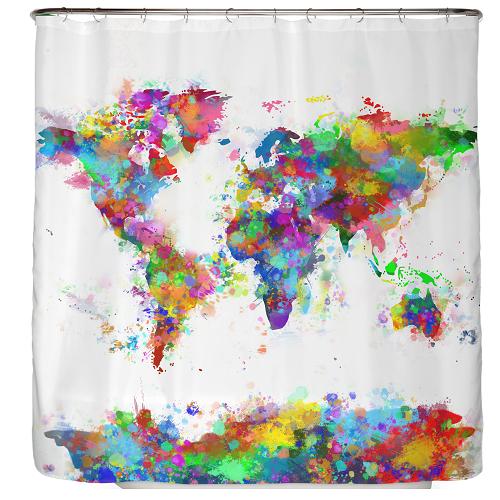 Duschvorhang Weltkarte 180x180cm