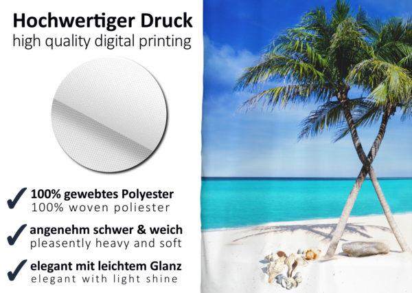HOCHWERTIGER TEXTIL DUSCHVORHANG 180 x 200 cm Traumstrand mit Palmen inkl Ringe