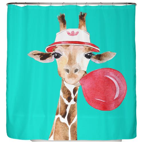 Duschvorhang Giraffe mit Brille und Kaugummi 180×200 cm