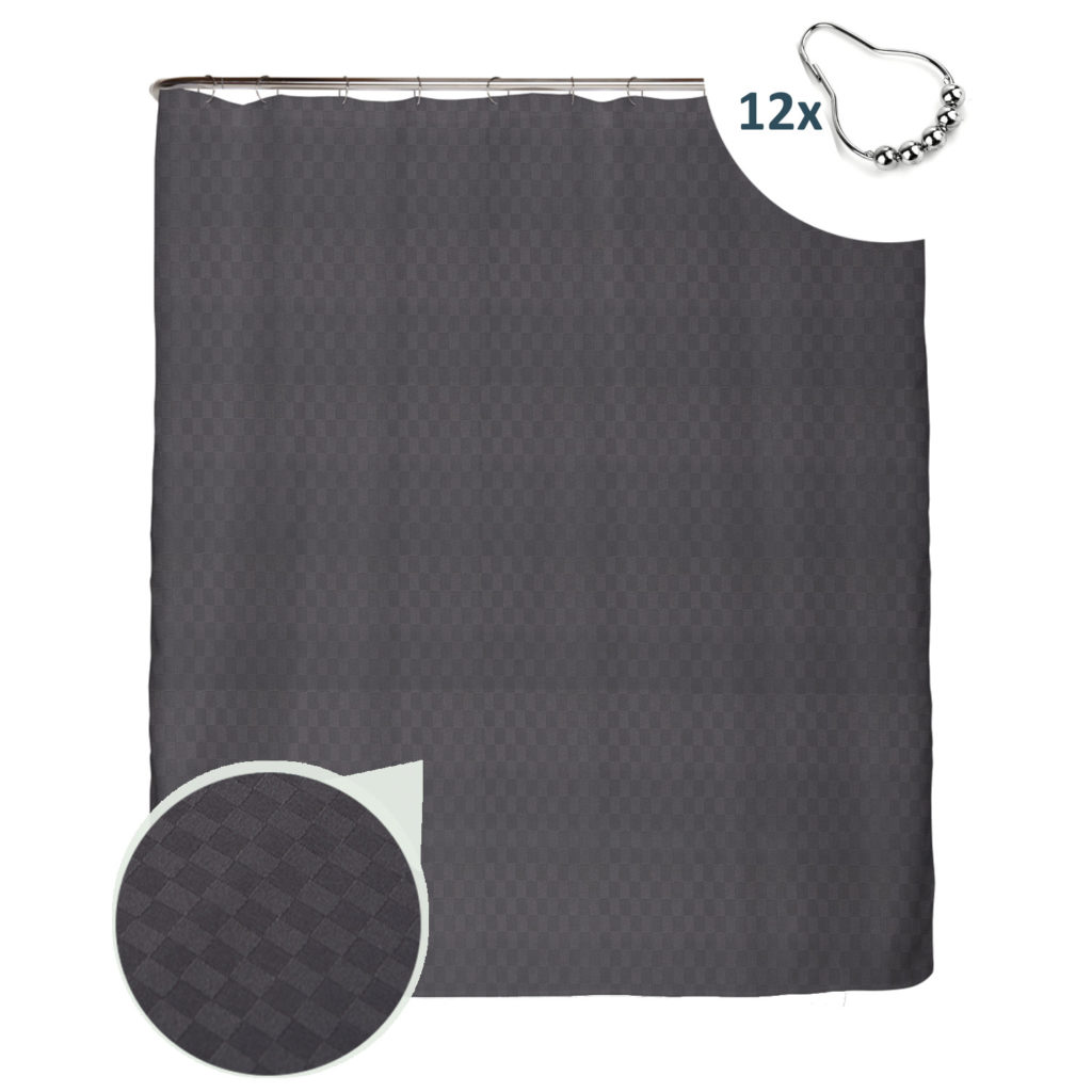 Premium Duschvorhang Quader Struktur Anthrazit Grau 180×200 **OHNE** Edelstahl-Ringe **B-Ware**