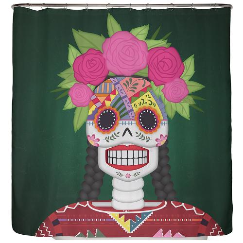 Duschvorhang Totenkopf aus Mexiko 180×200 cm