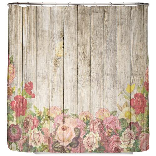 Duschvorhang Rosen auf Holz 180×200 cm