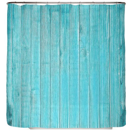 Duschvorhang Holz Türkis 180×200 cm