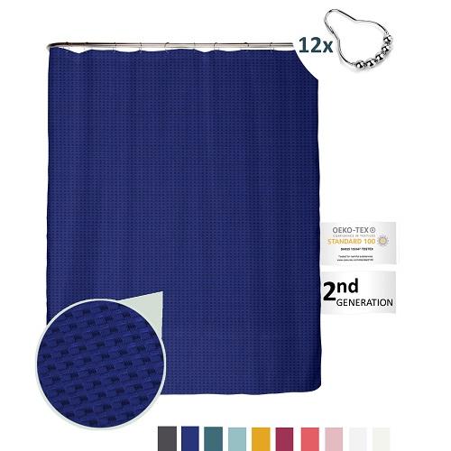 Premium Duschvorhang Waffle Struktur Königsblau 180×200 inkl. 12 Edelstahl-Ringe